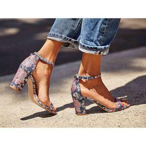 Jessica Simpson Monrae Floral Block Heel Sandal